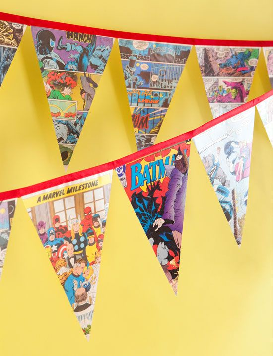 How to make this easy superheroes comic book party banner
