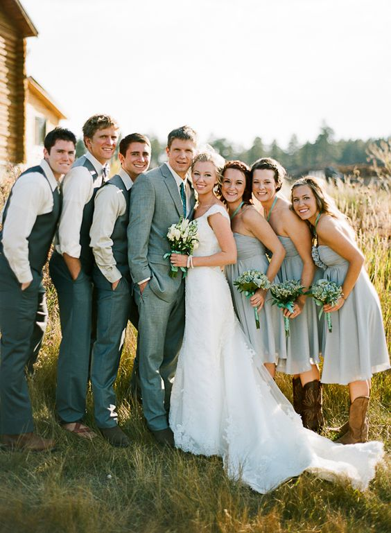 bridal party in gray | Cassidy Brooke #wedding-I like the gray suits with the light grey dresses