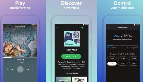 Spotify propose Spotify Lite une version allégée de son application (avec beaucoup de fonctionnalités absentes)