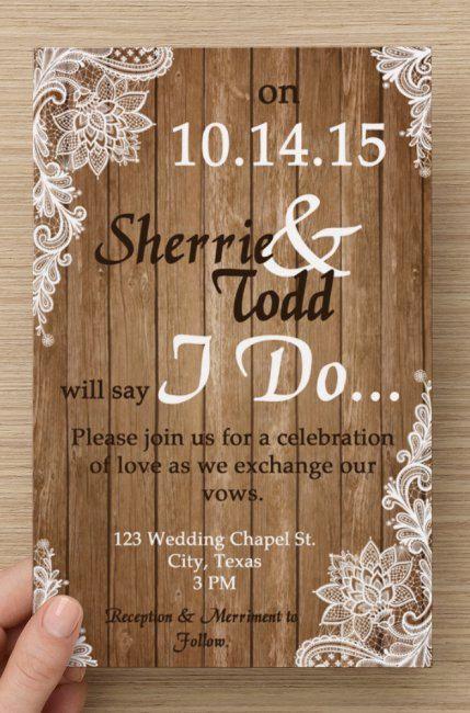 Custom Shabby Chic Wedding Invitation and RSVP Cards DIGITAL – Country Chic Wedding Invitations