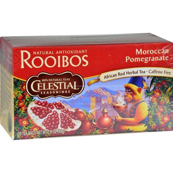 Celestial Seasonings Red Tea Caffeine Free Moroccan Pomegranate - 20 Tea Bags - Case Of 6