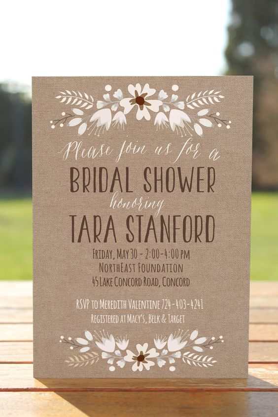 Rustic bridal shower invitation burlap bridal by OnlyPrintableArts, $15.00