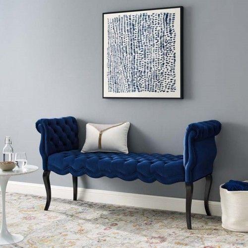 Navy Blue Velvet Chesterfield Style Button Tufted Bench Velvet Bench Living Room Lounge Blue Furniture