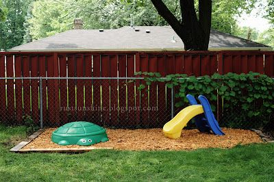 backyard play area + tip: rub outdoor plastic toys with mineral oil to restore luster