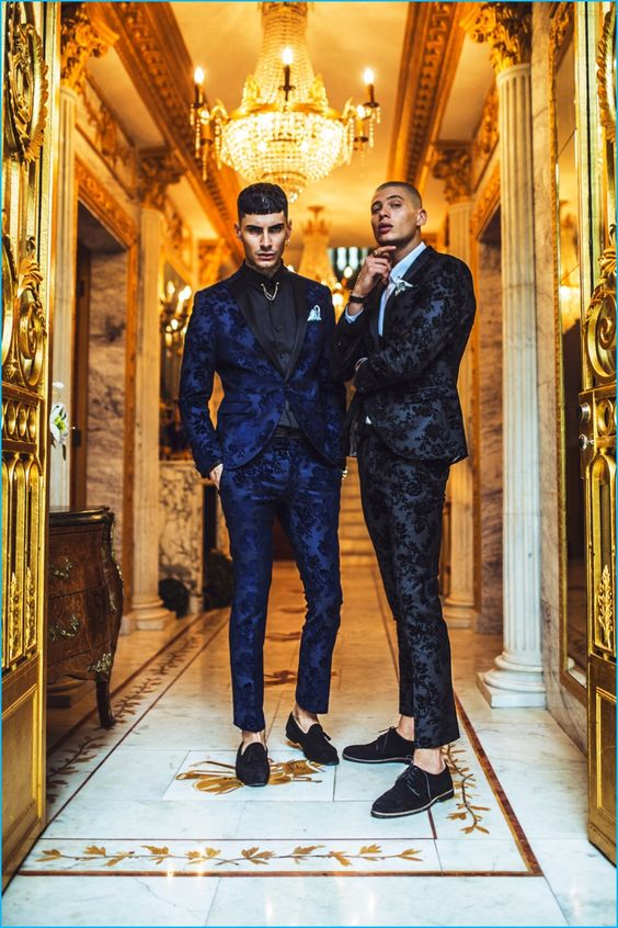 Models Savio de Chiara and Francesco Cuizza don patterned suiting from Noose…