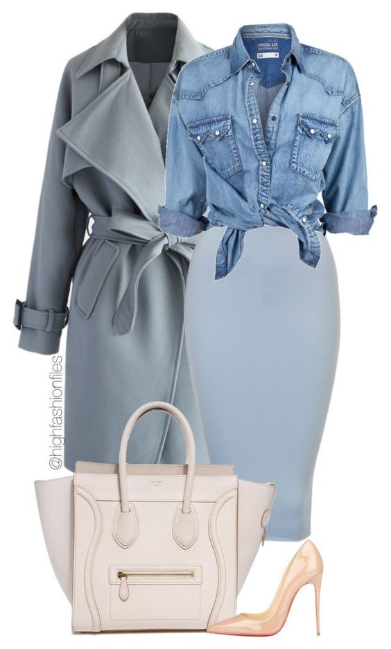 """Baby Blue"" by highfashionfiles ❤ liked on Polyvore featuring Chicwish, Soul Cal and Christian Louboutin:"