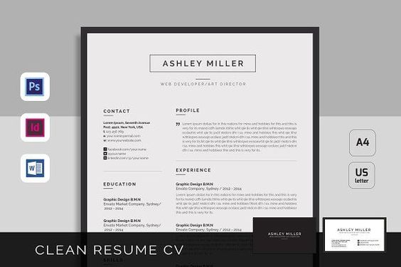 Resume Cv Anna by Estartshop on @creativemarket Resume Templates - clean resume template