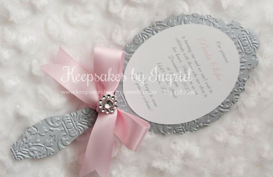 Hand mirror/ Princess invitation pack of 15 by KeepsakesbyIngrid