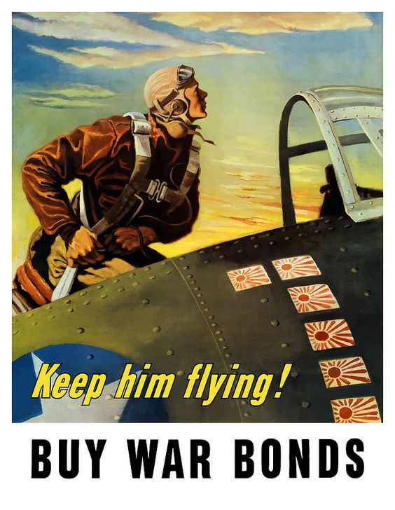 Keep Him Flying Buy War Bonds  Painting  - Keep Him Flying Buy War Bonds  Fine Art Print