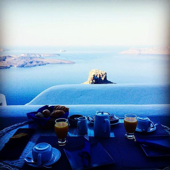 I think I could get used to this! #nevercominghome #roomwithaview #santorini by bdiangelis