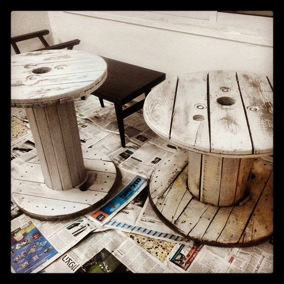 Upcycled cable wheels made into coffee tables
