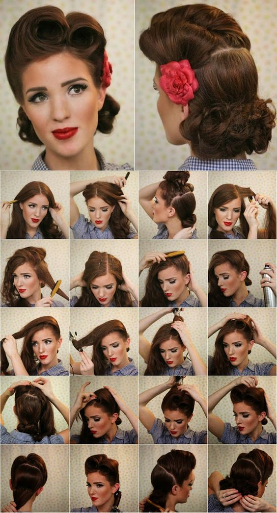 victory roll pin up tutorial | Vintage Look Pin-up Victory  Rolls - Complete Hair Style Tutorial