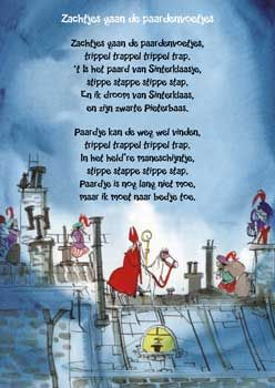 """Liedtekst: """"zachtjes gaan de paardenvoetjes"""" Geïllustreerd door Harmen van Straaten."""