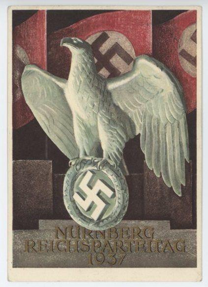 """""""Nürnberg Reichsparteitag 1937"""": German Commemorative Postcard, Reich Party Day in Nuremberg"""