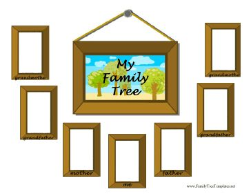 This fun family tree template is designed with picture frames in which to place photos of parents and grandparents. Great for kids and suitable for framing. Free to download and print