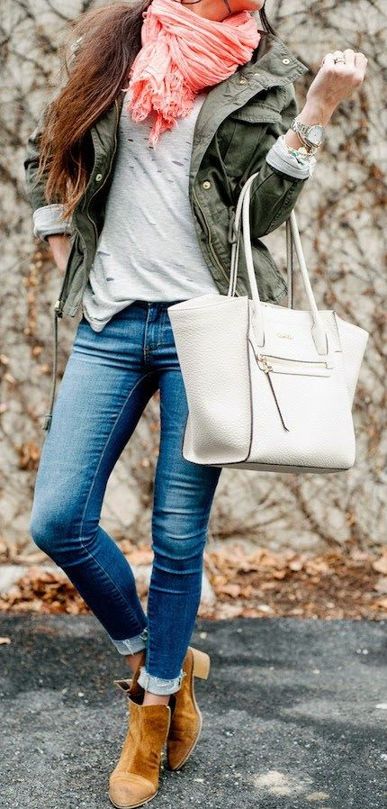 COMFY LAYERS - Ripped Tee, Old Navy Jacket, J.Crew Scarf, Report Booties, Calvin Klein Bag / Robyn Vilate | www.designerclothingfans.com