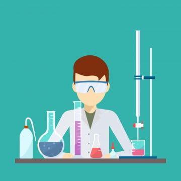 Vektordesign Eines Wissenschaftlers Mit Chemischer Titrationsausrustung Png Und Vektor Kimia Seni Anime Seni