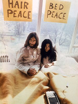 "But when John Lennon married Yoko Ono in 1969, the couple took a different approach â deciding to use the publicity around their marriage to promote world peace. Taking a cue from the sit ins, they arranged for two ""Bed-Ins for Peace"". After their first Bed-in in Amsterdam, John and Yoko wanted to move to New York, but because of John's 1968 marijuana conviction, they moved to Montreal instead, where they spent a week in bed under signs that said ""Hair Peace"" and ""Bed Peace""."