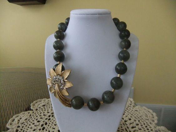 Laboradorite 16mm beaded necklace with vintage Trifari Brooch  www.etsy.com/shop/nadinelader