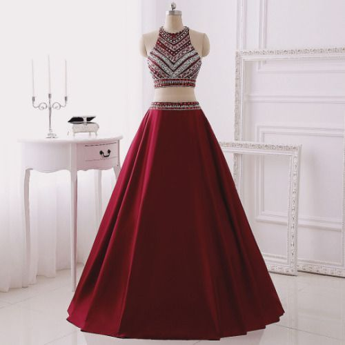 Two Pieces Prom Dresses,Long Prom Dresses For Teens,Burgundy