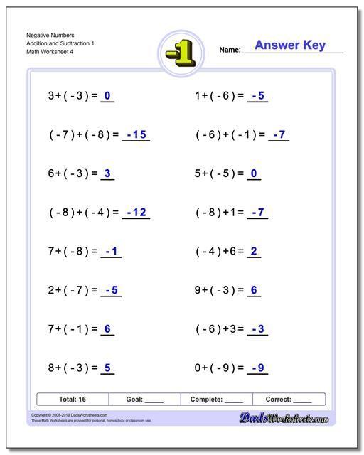 Https Www Dadsworksheets Com Negative Numbers Addition Worksheet And Subtraction Wor Negative Numbers Worksheet Subtracting Negative Numbers Negative Numbers Addition of integers worksheet grade 7