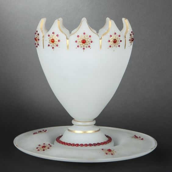 Opaline glass punch bowl and its stand: Punch Bowls, Milk Glass, Bowl Atop, Its, Glass Beads, Red Glass