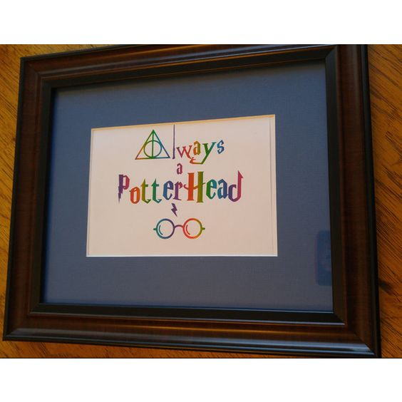 Always A Potterhead Real Gold Foil Print, Rainbow Foil Wall Art, Home... ($10) ❤ liked on Polyvore featuring home, home decor, wall art, gold home accessories, gold wall art and gold home decor