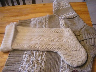 old sweater, trace stocking, pin, sew, THEN cut...for those of us less accomplished at knitting
