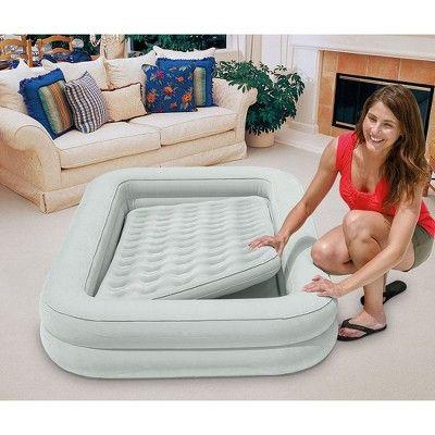 Intex 66810ep Kids Inflatable Raised Frame Travel Air Mattress With Hand Pump Kids Travel Bed Air Bed Air Mattress