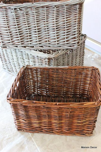 Chalk Paint® decorative paint by Annie Sloan in French Linen dry-brushed on baskets (the ones in back) to mimic Belgian-Washed Baskets...I do these all the time and they look great and use hardly any paint!