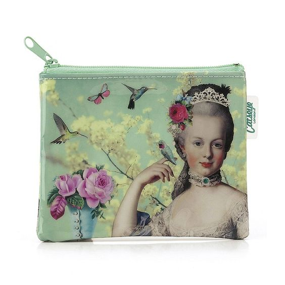 Marie Antionette Coin Purse. You may not carry a queen's cash, but you can take her opulent style with you. The Marie Antoinette Coin Purse makes your small change look fabulously decadent, with its soft green collage of birds, flowers and Marie herself. Ooh la la but never outré, it's an everyday wink of bygone glamour.  $12.95