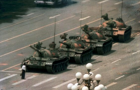 Tank Man - temporarily stops a column of 12 - 20 PLA main battle tanks, the day *after* the Tiananmen massacre