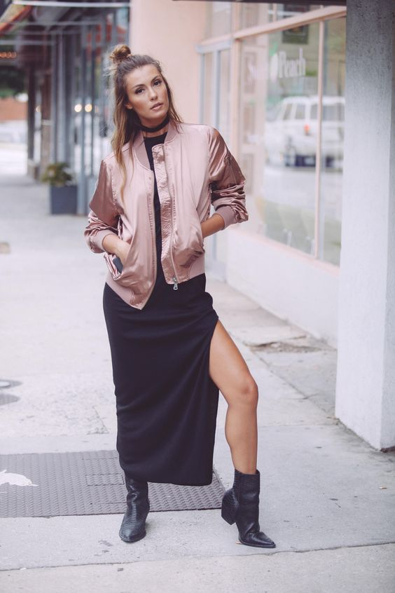 Get with the trend - our Atomic satin bomber jacket is a must have for fashion forward babes. Our obsession with this light pink satin bomber is too real. Pair this jacket with a bodycon maxi or denim: