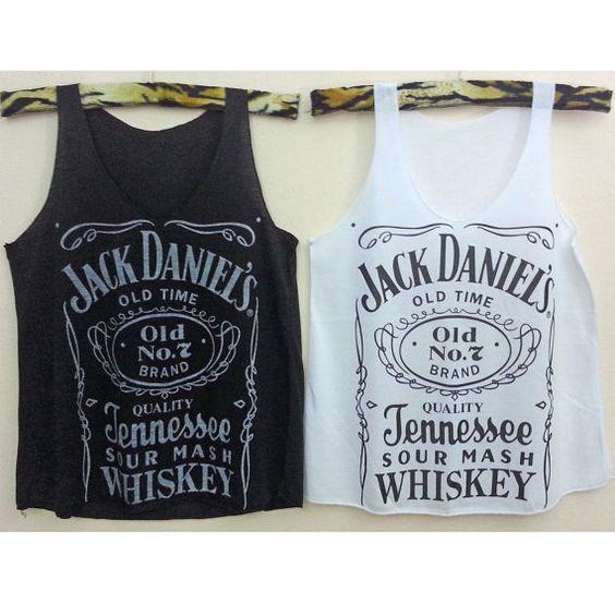 Tank top Jack daniels Crop Tank Tops whiskey T-Shirt Women shirt  vest shirt teen Rock Pop Punk leeveless im01 Black White Pink and more S M on Etsy, $12.00