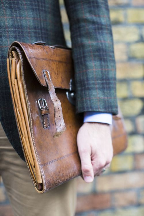preppy plaid coat and leather briefcase