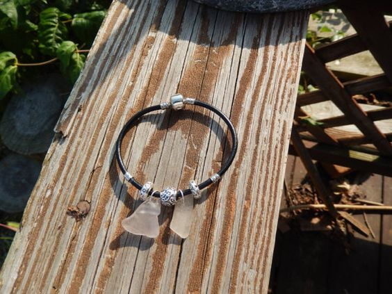 Sea Glass White and Silver Bead Bracelet by Deesshoppe on Etsy, $14.00