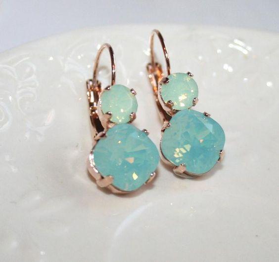Mint Earrings Opal Rhinestone Rose Gold Earrings, Swarovski ...