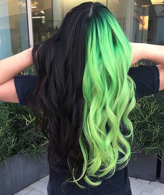 Split Haircolor Black Neon Green Hair Color For Black Hair