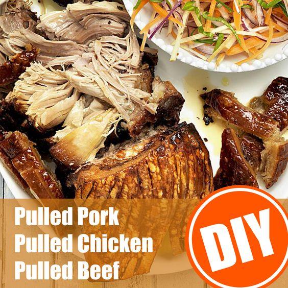 So gelingt Pulled Pork, Chicken oder Beef im Backofen: http://eatsmarter.de/ernaehrung/pulled-meat-aus-dem-backofen