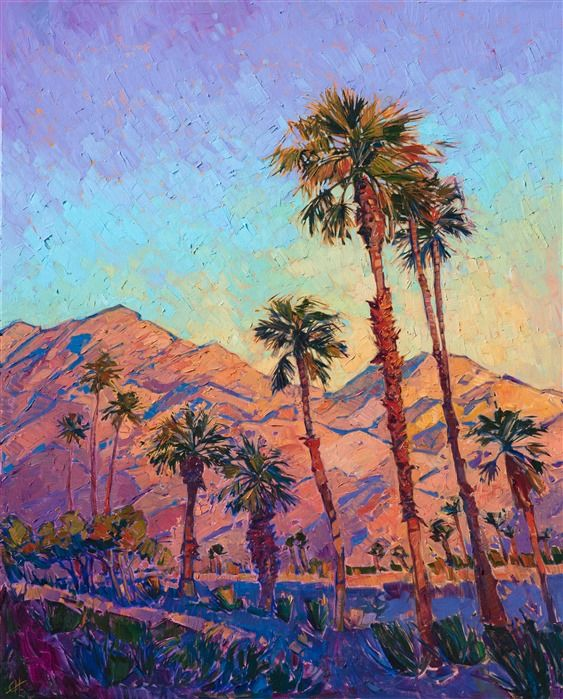 Oil Painting Of California Desert Palm Trees By Modern Impressionist Artist Erin Hanson Nature Paintings Acrylic Mountain Paintings Landscape Paintings