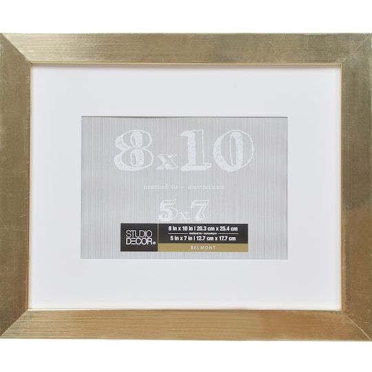 Gold Metallic Belmont Frame With Mat By Studio Decor In 2020 Frame Stairway Gallery Wall Gallery Wall