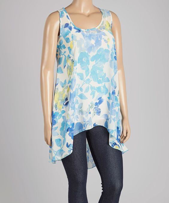 This Blue Floral Hi-Low Tank - Plus by Zenobia is perfect! #zulilyfinds