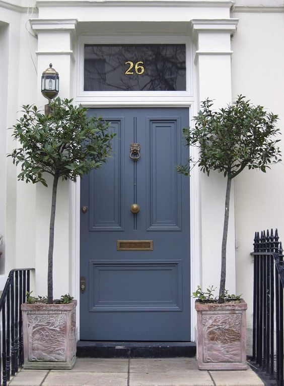 Potted Trees | Mail Slot | Navy Blue | Front Door Ideas | Curb Appeal | Paint Colors | Home Improvement: