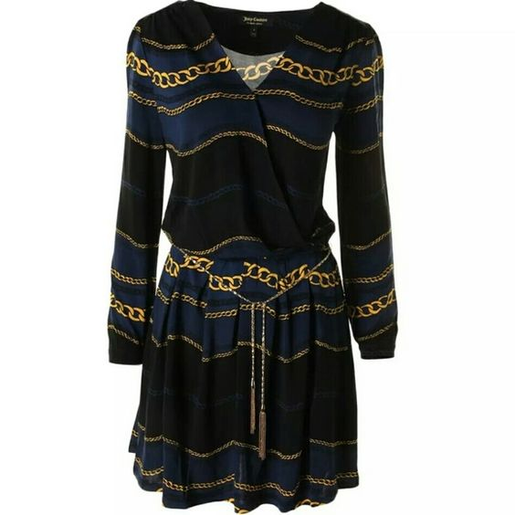 NEW Juice Couture Navy Chains light weight Dress S Gorgeous! Never worn, light weight and soft. Size Small Juicy Couture Dresses Long Sleeve