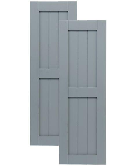 Exterior Solutions - Traditional Composite Framed Board-n-Batten Shutters - Center Mullion, Installation Brackets Included
