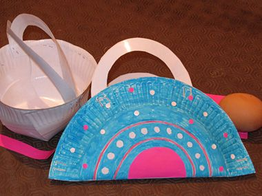 Panier ufs de p ques 2 id es pour fabriquer un panier avec des assiettes en carton - Panier de paques a fabriquer ...