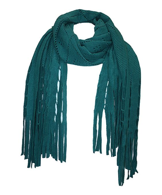 Look at this Jeanne Simmons Accessories Turquoise Eyelet Fringe Scarf on #zulily today!