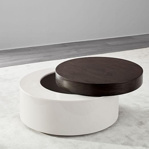 Stacked Disk Storage Coffee Table Dark Mineral Salt Coffee Table