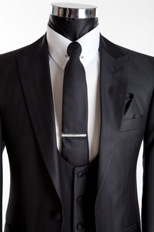 Men's Fashion Slim Wedding Suit - Richmond Silk Black - Close Up