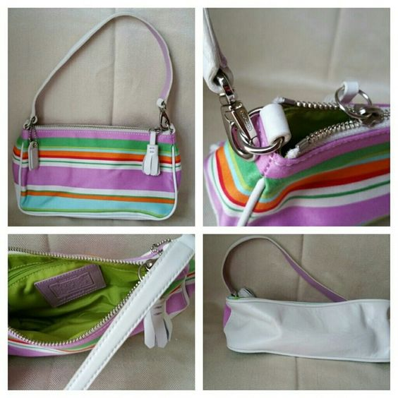 Coach Multicolor Stripe Bag Wristlet Very Good Pre-owned Condition! No offers, priced to sell. Coach Bags